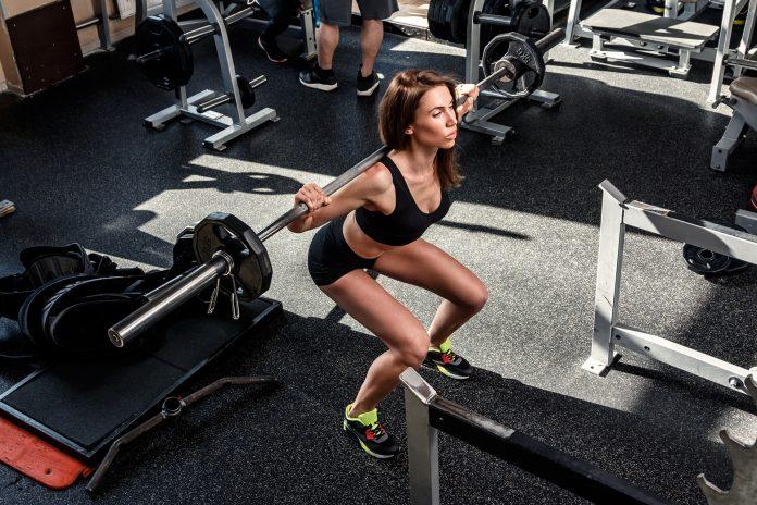 Beautiful woman during workout